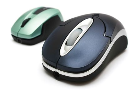 A big and small wireless mouse on white background.