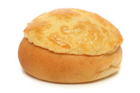 A pineapple bun (Hong Kong pastry) isolated on white background.