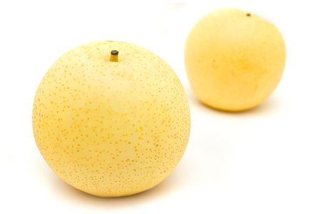 asian pear: Close up of nashi pears on white background. Stock Photo