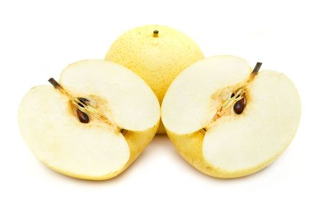 asian pear: Nashi pear sliced into half on white background. Stock Photo