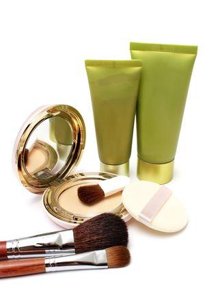 Blushers, foundation powder and lotion on white background. Stock Photo - 3275473