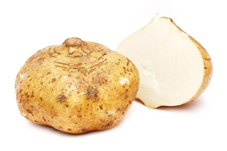 Yam bean cut into half isolated on white background.