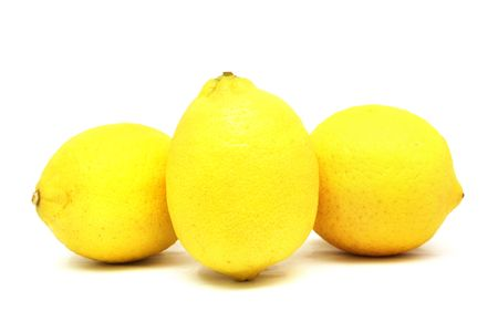 heartiness: three lemons with white background