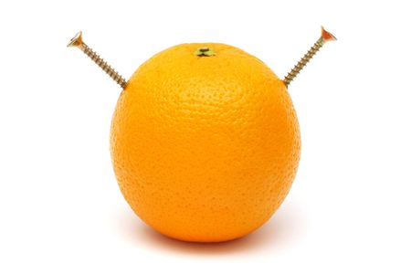 screwed: An orange screwed with two pieces of screw. Stock Photo
