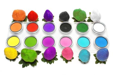 Colorful strawberry and eyeshadow on white background. Stock Photo - 3343532