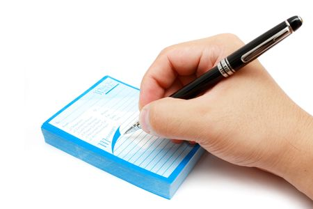 notification: Hand writing memo with black ball pen on white background. Stock Photo
