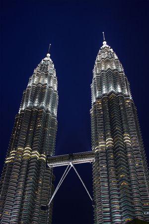 Night scene of Twin Tower, Kuala Lumpur, Malaysia. Éditoriale