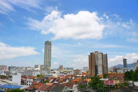 Tower and cityscape found in Georgetown, Penang, Malaysia.