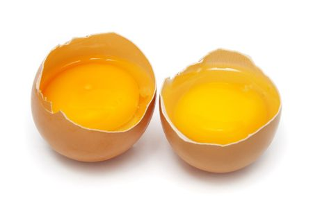 albumin: Two raw eggs tear into half with yolk and albumin.