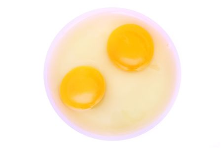 albumin: Two yolks with albumin over white background.  Stock Photo