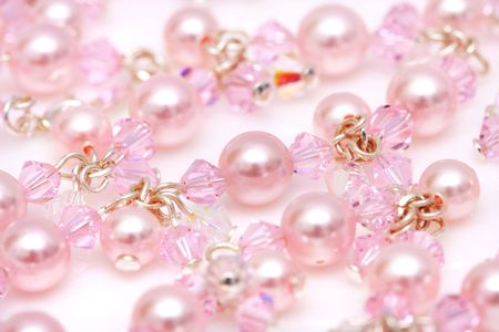 Close up of pink beads of a necklace. photo