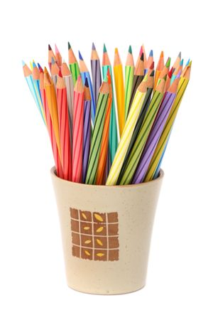 Colorful color pencils put together in a cup. photo