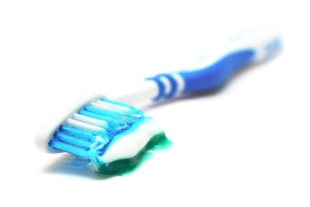 Tooth brush with toothpaste on white background. Stock Photo - 4272084