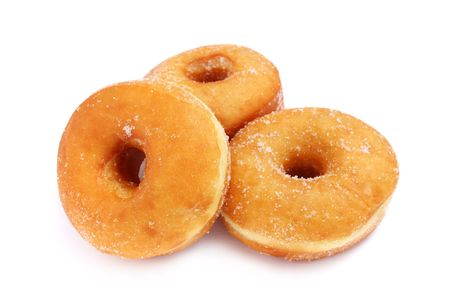 Three sweet donuts isolated on white background.