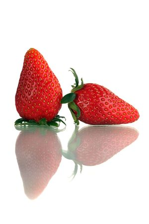 Close up of Korea strawberry standing over white background. Stock Photo - 4587236