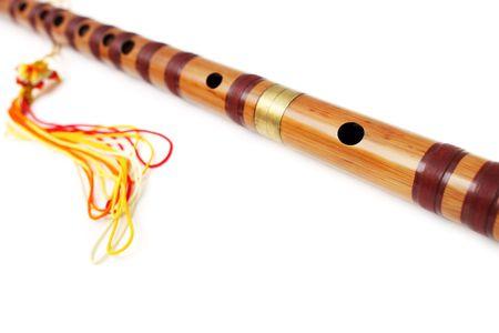 transverse: A dizi (Chinese transverse flute) isolated on white background. Stock Photo