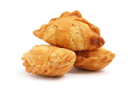 puff: Three curry puffs isolated on white background.