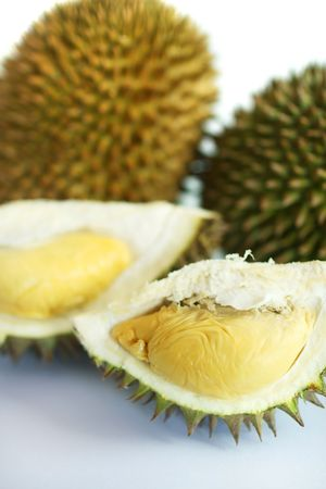 Close up of durians isolated on white background.