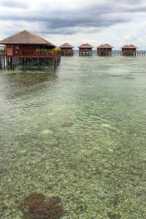 View of Sipdan water village resort at Mabul Island Stock Photo
