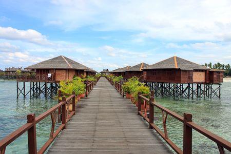 mabul: View of Sipdan water village resort at Mabul Island.