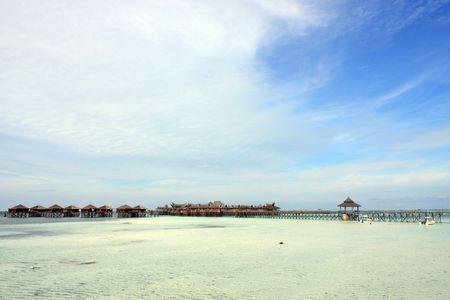 Panoramic view of Sipdan water village resort at Mabul Island. photo