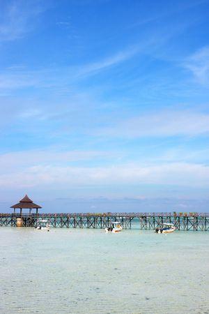 mabul: Panoramic view of Sipdan water village resort at Mabul Island.