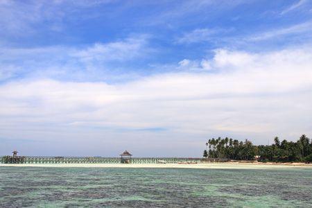 mabul: Panoramic view of Mabul Resort walkway at Mabul Island.