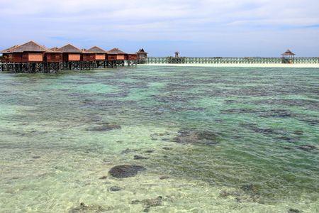 mabul: View of Sipdan water village resort at Mabul Island Stock Photo