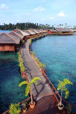View of Sipdan water village resort at Mabul Island.