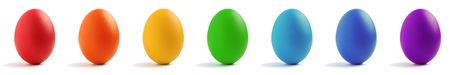 Seven eggs with rainbow color isolated on white background. Stock Photo