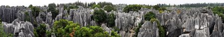 Panorama view at Shilin Stone Forest of Kunming, Yunnan, China.