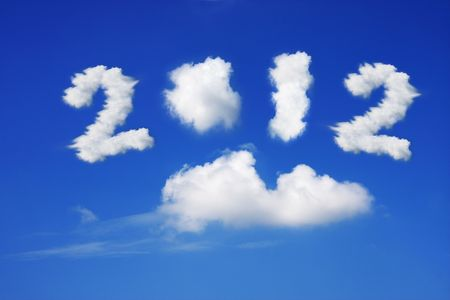 Year 2012 cloud and blue sky on sunny day.