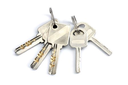 twin house: Two set of keys isolated on white background.