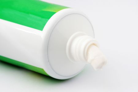Close up of tooth paste over white background. Stock Photo