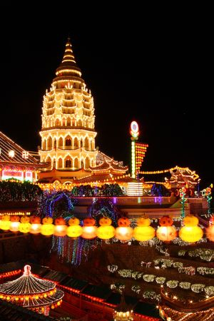 buddhist structures: Night scenery view of Kek Lok Si Temple, which located in Penang, Malaysia.