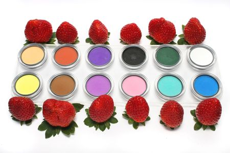 Colorful strawberry and eyeshadow on white background. Stock Photo - 6696114