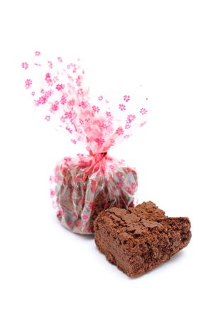 Close up of chocolate cookie gifts isolated on white background. photo
