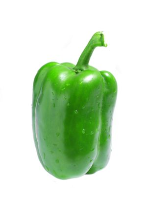 Close up of a green pepper isolated on white background.