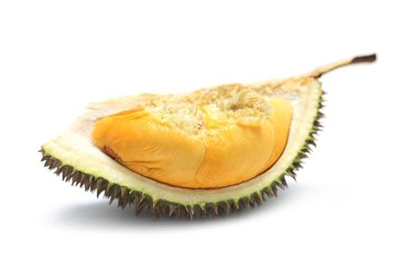 A durians piece isolated on white background.