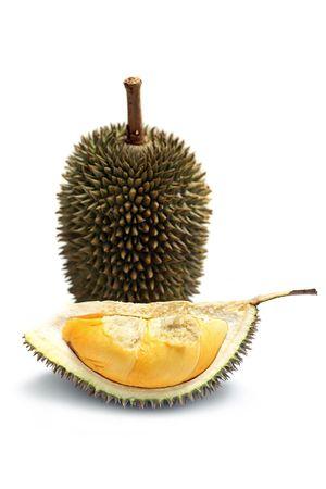 Close up of peeled durian isolated on white background. photo