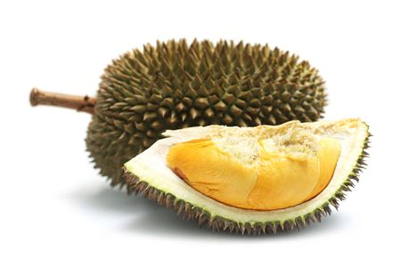 Durian: Close up of peeled durian isolated on white background.