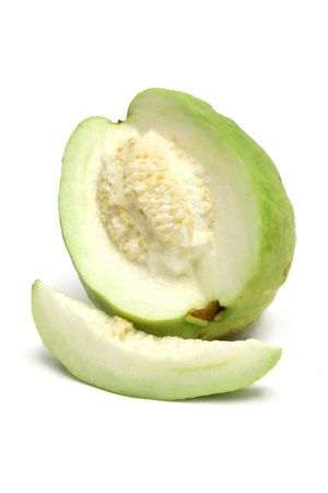 guava: Close up of sliced guava isolated on white background.