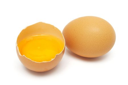 albumin: An half egg with yolk and albumin put together with another. Stock Photo