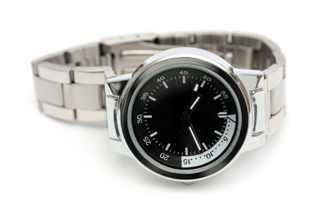 Close-up of a handwatch isolated over white background.