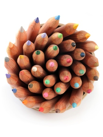 Close up of color pencils with different color over white background. Stock Photo