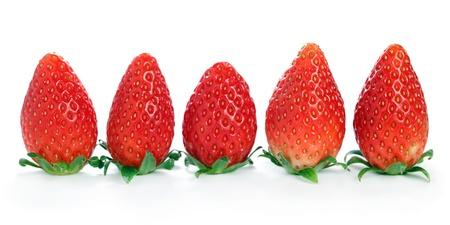 Close up of Korea strawberry isolated over white background. photo
