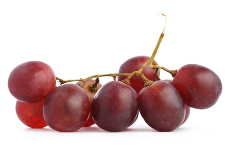 A string of grapes isolated on white background.