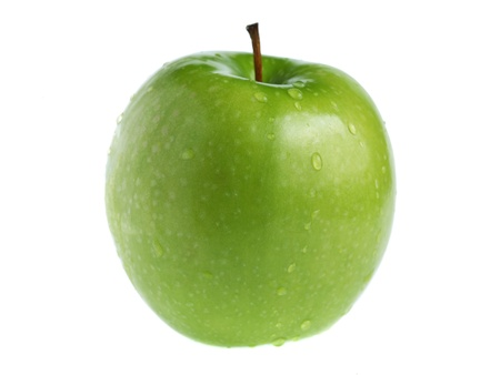 A green apple isolated on white background.