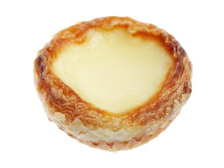 egg tart: An egg tart isolated on white background. Stock Photo