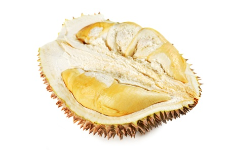 Close up of half durian isolated on white background. photo